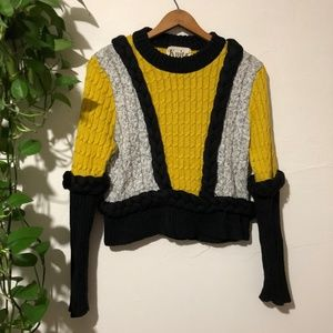 For Love And Lemons Knitz Yellow Billy Sweater XS